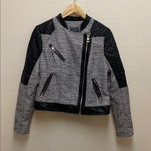 Guess Tweed and Faux Leather Moto Jacket Large